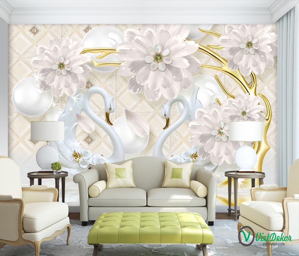Tranh dán tường 3d hoa thiên nga trang sức