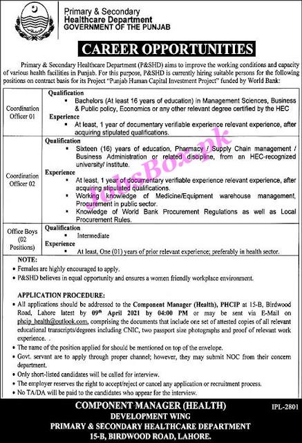 health-department-Coordination-Officer-punjab-jobs-2021