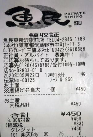 魚民 東所沢駅前店 2020/5/22 のレシート
