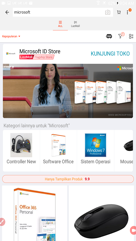 Daftar Hasil Pencarian Produk di Marketplace Lazada.