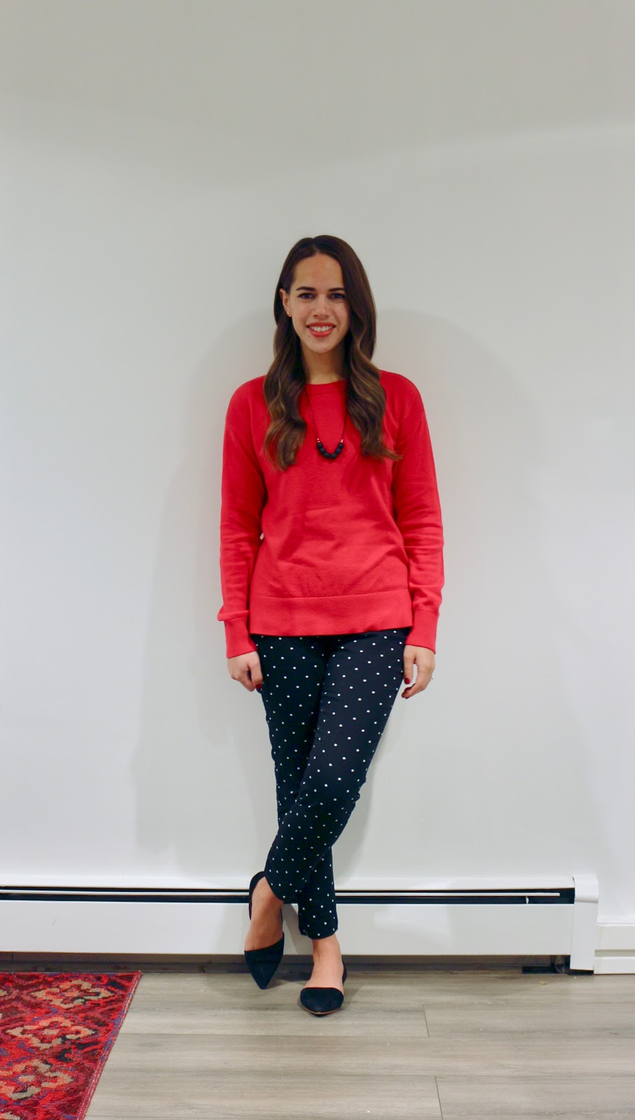 Jules in Flats - Gap Red Sweater with High Rise Skinny Ankle Pants in Polka Dot (Business Casual Fall Workwear on a Budget)