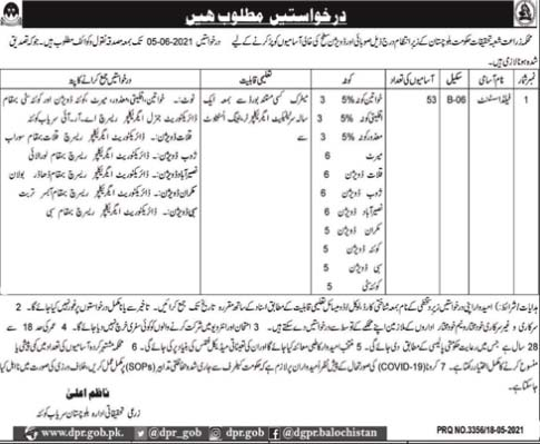 New Jobs in Agricultural Department Quetta 2021  Field Assistant Jobs in Agricultural Department Balochistan by www.newjobs.pk