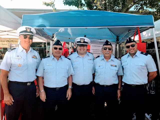 16-7 members (left to right) Bill Iwanyk, Andrew Ferraro, Christopher M. Orlando, Bill Castagno and Jason Reineke are all set to and ready to answer your boating safety questions at the Festival of the Sea in Point Pleasant Beach on Saturday, 9/21. USCGAUX Photo Courtesy of Christopher M. Orlando