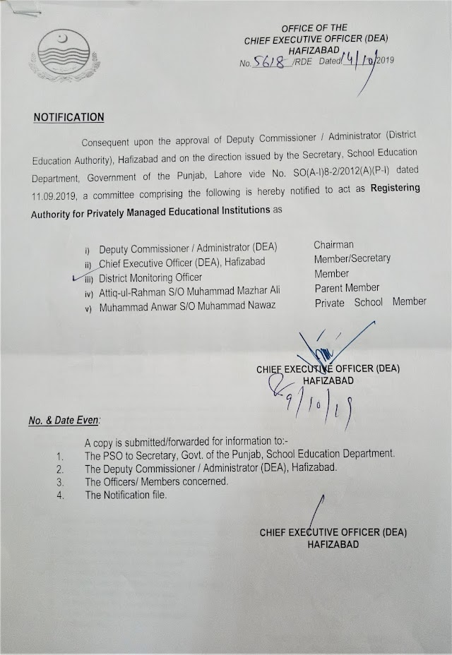 REGISTERING AUTHORITY FOR PRIVATELY MANAGED EDUCATIONAL INSTITUTIONS HAFIZABAD