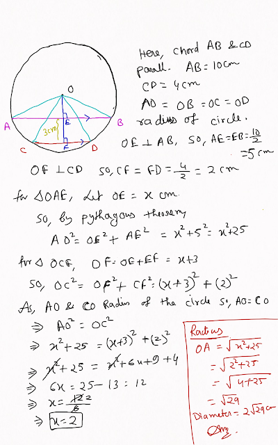 AB and CD are two parallel chords of a circle of length 10 cm and 4 cm respectively. If the chords are same side of the centre and distance berween them is 3 cm, then find the diameter of the circle