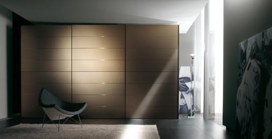 Inspiring Warm Bedroom Decorating Ideas by Huelsta : Modern Bedroom Design  By Huelsta With White Cupboard Brown Bed Pillo Blanket Black Carpet Window  Calm ...
