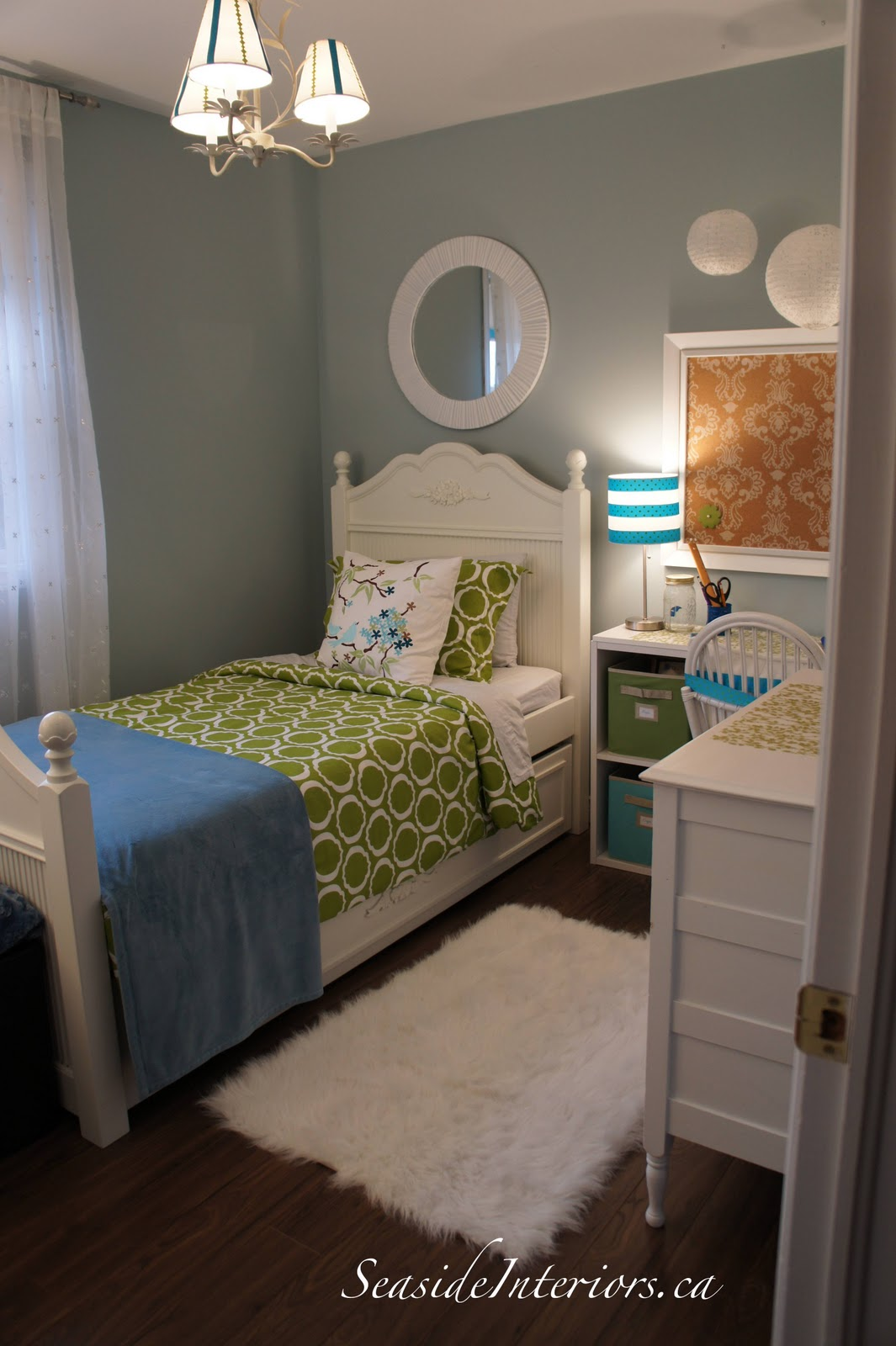 Seaside interiors going blue green girls room redo - Cute girl room ideas ...