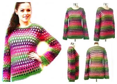 Pullover comodín multicolor patrón ganchillo