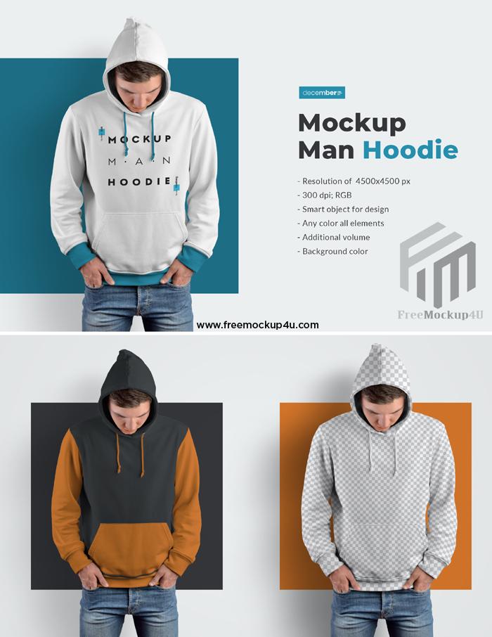 Men Hoodie Mockups Smart Object for Design