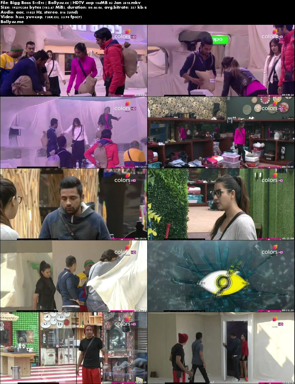 Bigg Boss S11E95 HDTV 480p 180MB 03 Jan 2018 Download