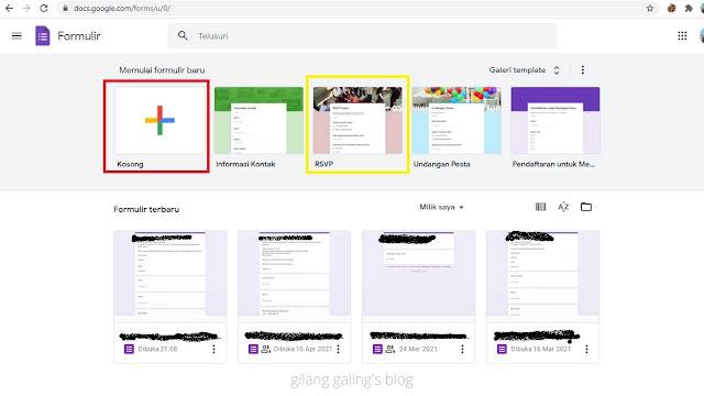 Tampilan Awal Template Formulir Google Docs Buat Baru