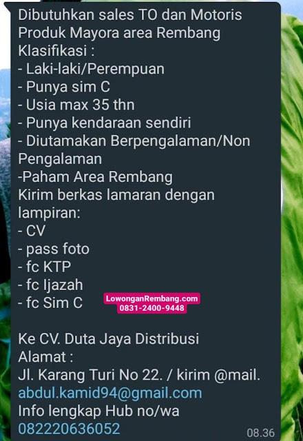 Lowongan Kerja Sales TO Dan Motoris CV Duta Jaya Distribusi Mayora Rembang