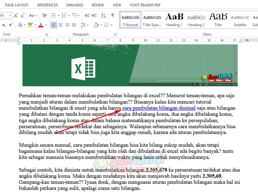 Hasil copy paste artikel hyperlink ke word