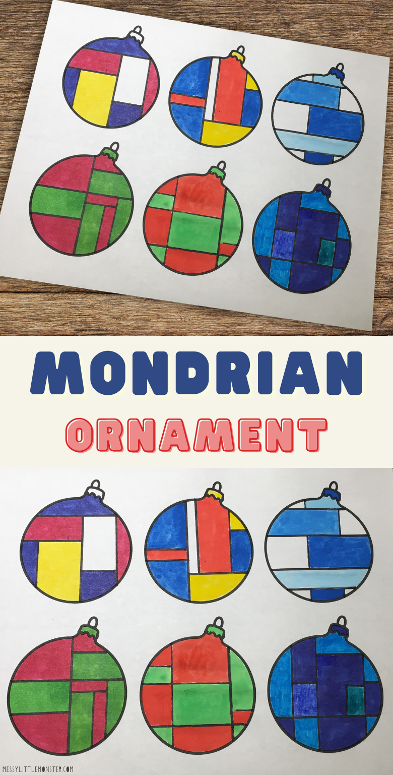 Mondrian ornament craft for kids with printable ornament template