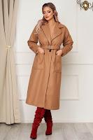 Palton maro elegant cu un croi drept din stofa