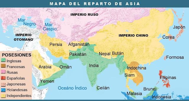 Resultado de imagen de MAPA REPARTO DE ASIA COLONIALISMO