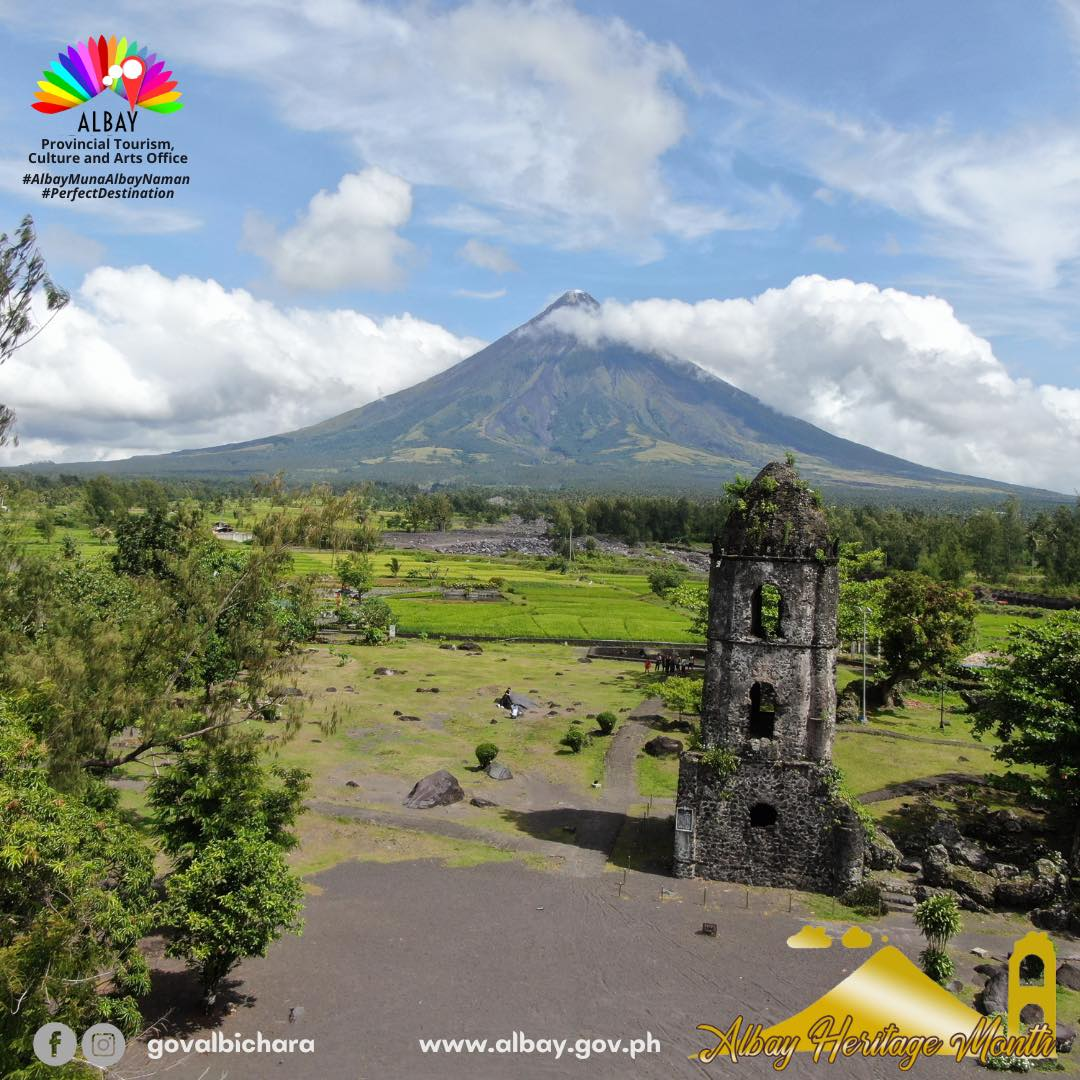 Cagsawa Ruins is a ruined church and parish house (casa parroquial) that marks the once-thriving town center of Cagsawa, now in Brgy. Busay, Daraga, Albay