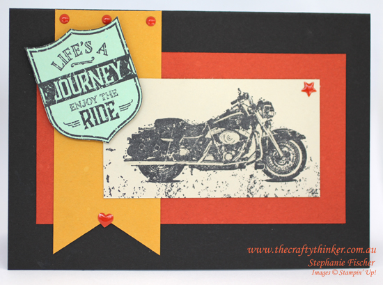 Stampin Up, #thecraftythinker, One Wild Ride, Masculine card, Motorbike, Stampin Up Australia Demonstrator