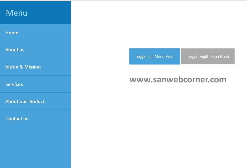 Simple push menu using Jquery | Sanwebcorner