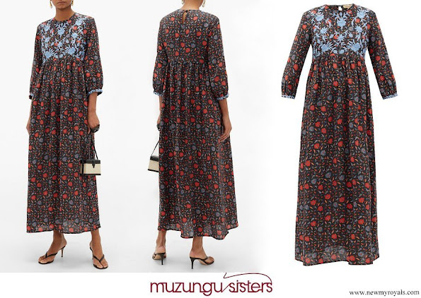Tatina Santo Domingo Casiraghi wore Muzungu Sisters Floral Embroidered Linen Dress