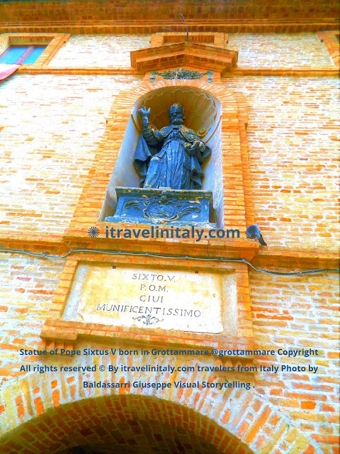 Statue of Pope Sixtus V born in Grottammare @grottammare Copyright All rights reserved © By itravelinitaly.com travelers from Italy Photo by Baldassarri Giuseppe Visual Storytelling .