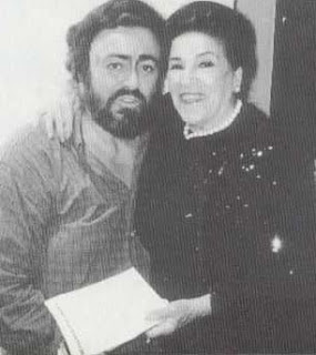 Licia Albanese pictured with the great tenor Luciano Pavarotti in 1973