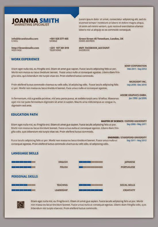 1 Page Cv Template Word Images - Template Design Ideas - cv one