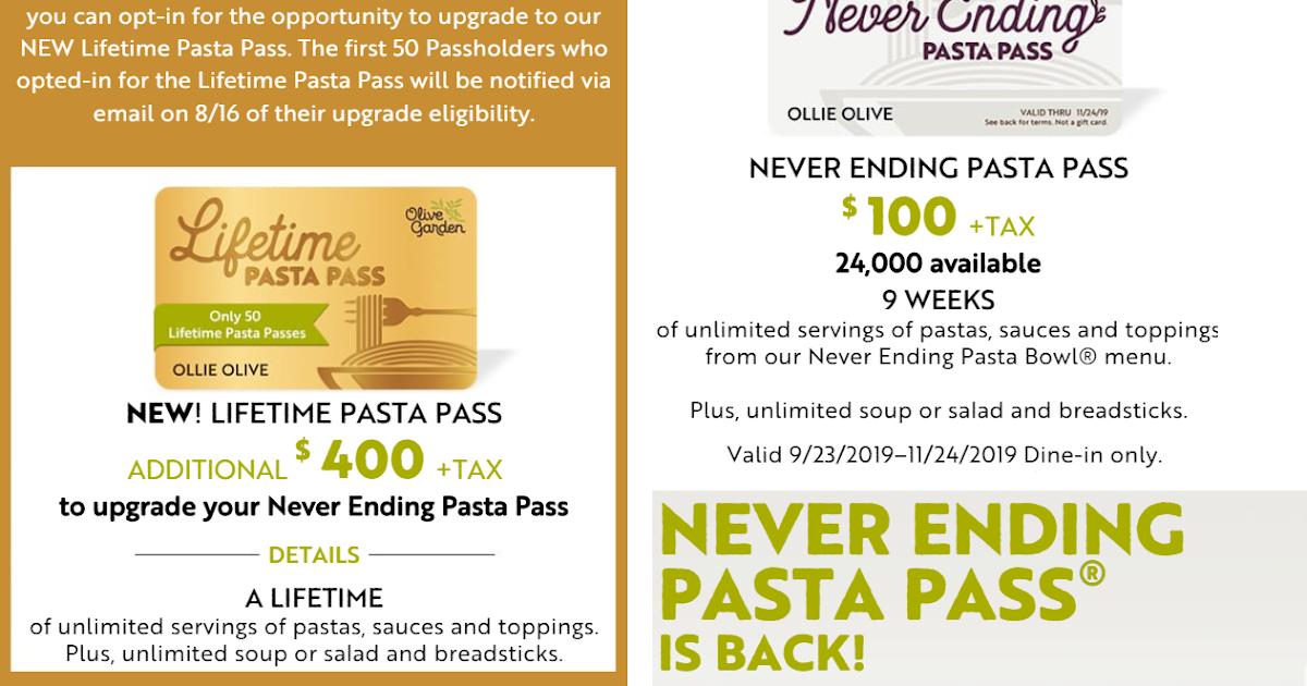 Menu For Olive Garden: IT'S BACK!! Olive Garden 2019 Never Ending Pasta Pass. 9