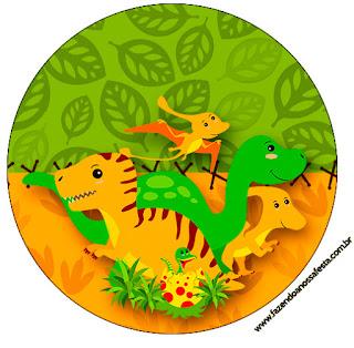 Toppers o Etiquetas de Fiesta de Dinosaurios para Imprimir Gratis.