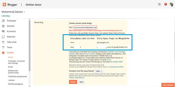 cara custom domain di blogspot dengan idcloudhost