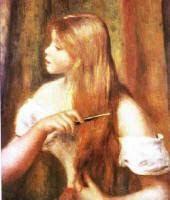 Pintura de chica rubia cepillándose el cabello