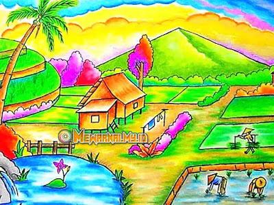 sketsa gambar pemandangan alam pedesaan