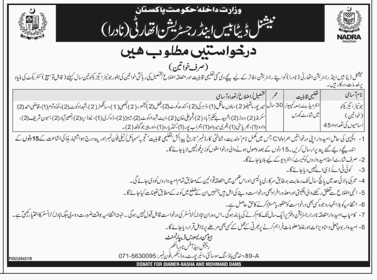 Jobs In National Database And Registration Authority NADRA 16 Dec 2018