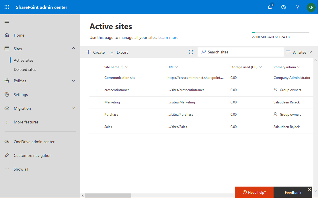 get all sites in sharepoint online