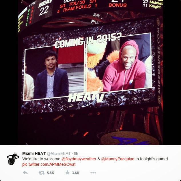 Manny Pacquiao and Floyd Mayweather First Meet Up at NBA Game 2015