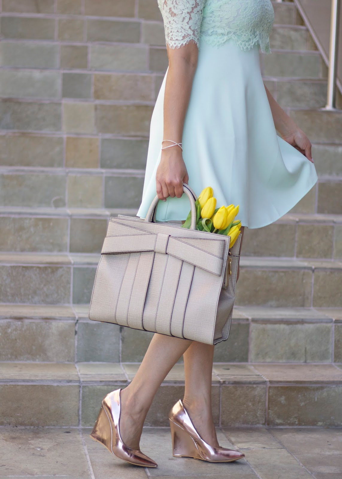Girly Spring Accessories, metallic heels, rose gold wedge heels, zac posen bow handbag