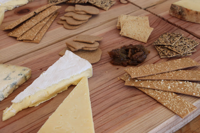 Cheese board with biscuits by Fudges.