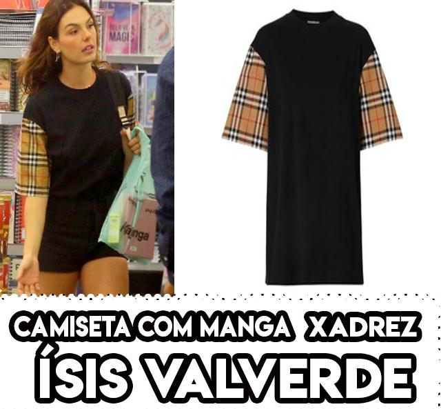 Camiseta preta de manga xadrez da Isis Valverde