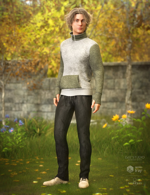 High Neck Sweatshirt Outfit for Genesis 8 Male
