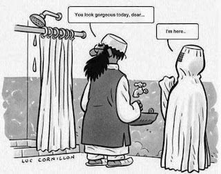 Funny Muslim Islam Joke Cartoon Picture - You look gorgeous dear... I'm hear