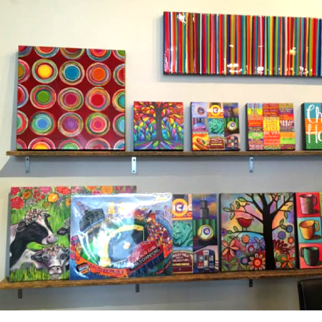 Paintings of all sizes at Colored Squid Gallery