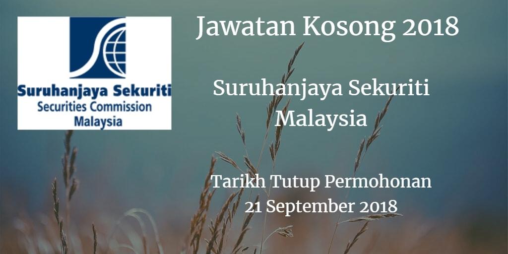 Jawatan Kosong Suruhanjaya Sekuriti Malaysia 21 September 2018