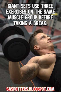 Giant sets use three exercises on the same muscle group before taking a break.