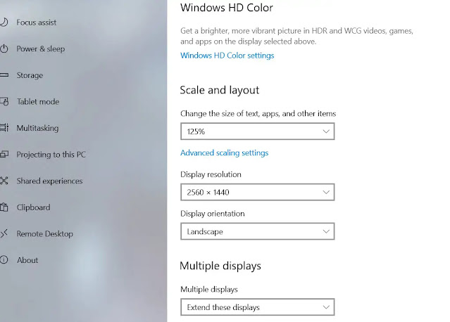 Windows 10 Sacle and resolution settings page