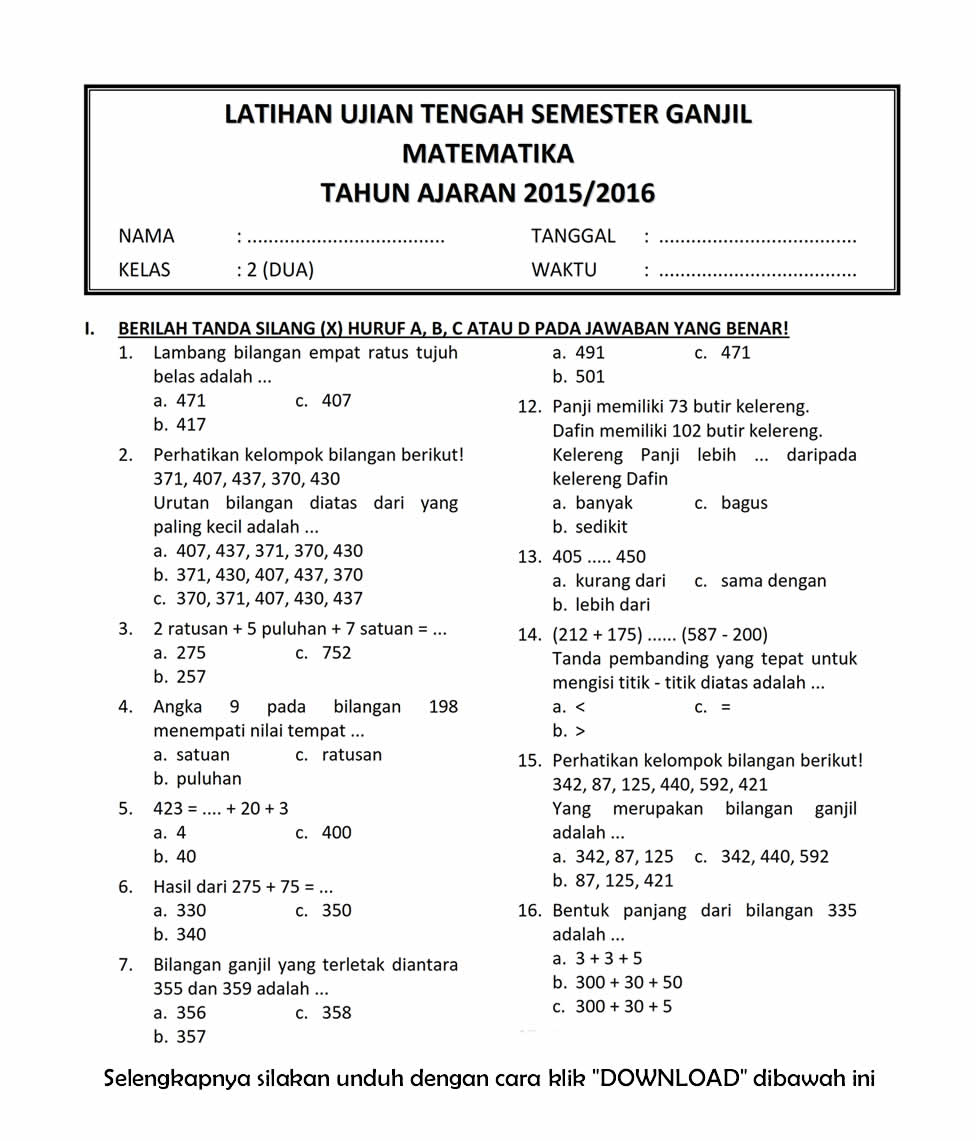 Download Soal UTS Ganjil Matematika Kelas 2 Semester 1 T.A 2015/2016 ~ Rief Awa Blog : Download