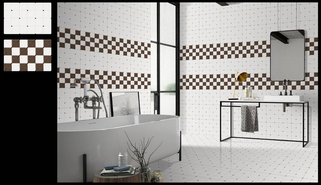 Checkered bathroom tiles