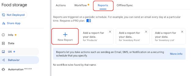 AppSheetで在庫管理、新しいレポートを作成する