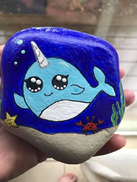 Cute narwhal painted Rock by Emily Gilmore