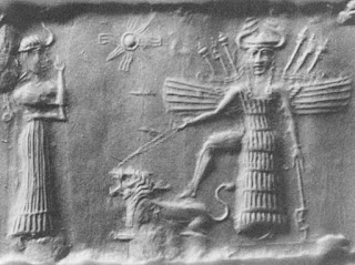 Ancient Akkadian cylinder seal depicting Inanna / Ishtar resting her foot on the back of a lion