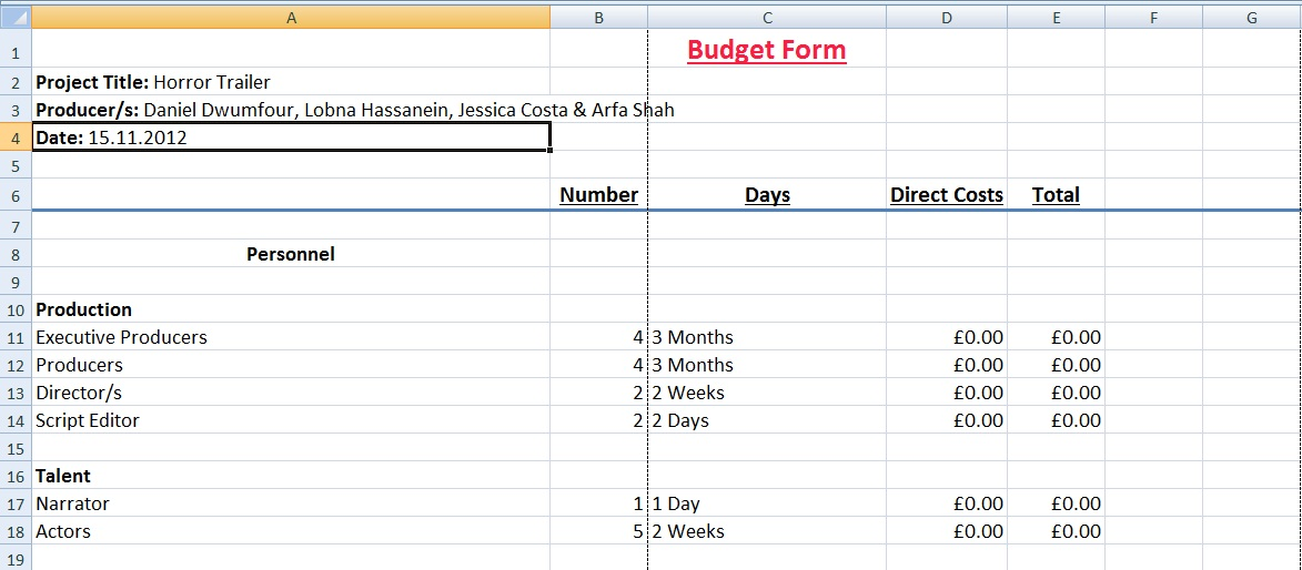 Pre Production Budget Form Digital Media Foundations